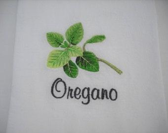 Oregano Herb Flour Sack Towel  Machine Embroidered.