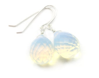 Opalite  Opal Earrings Faceted Round Pear Large Shaped AAA Teardrops 14k Gold Filled or Sterling Silver Fat Drops Iridescent briolettes