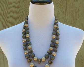 1960's Double Strand Beaded Grey Necklace