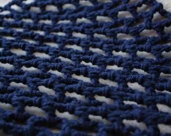 "Crochet Toy Hammock - Navy Blue ""Lovey Corral"" - Stuffed Animal Organizer"