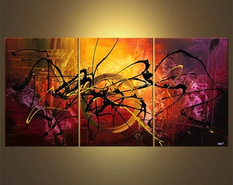 "Original Contemporary Abstract Acrylic Painting on Canvas by Osnat - MADE-TO-ORDER - 72""x36"""