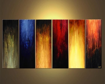 "Large Contemporary Abstract Painting Earth Tones Modern Art  Colorful Large Acrylic Painting by Osnat - MADE-TO-ORDER - 72""x36"""