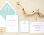 Seahorse Beach Destination Wedding Invitations - Printed - DIY Printables
