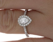 GIA Pave Style 1.16 CTW 14k W/G Pear & Round Cut Diamond Engagement Ring