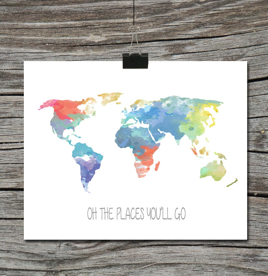 World Map Travel Quote Poster Watercolor Oh By