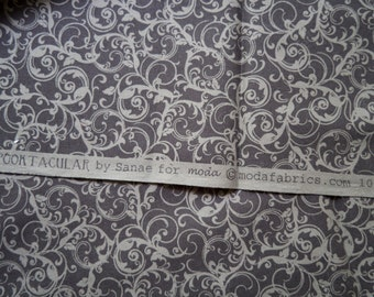 Moda Spooktacula Black Scroll Fabric Cotton Half Yard
