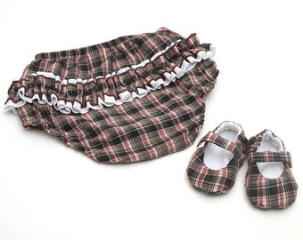Girls 6-12m Ruffle Bottom Bloomers and Mary Jane Shoe Baby Gift Set in Plaid