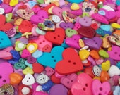 "On Sale 10% off - 50 Assorted Rainbow Colored Heart Sewing Buttons - grab bag bulk heart buttons, multi sizes 3/8"" up to 2"", lots of variety"