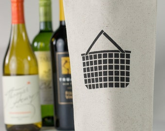 Wine Tote - Recycled Cotton Canvas - Picnic Basket