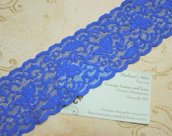 1 yard of 2 1/2 inch Royal Blue Stretch elastic lace trim for baby headband, lingerie, garterc by MarlenesAttic - Item PP3