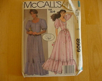 1980s McCalls Pattern 8909, Misses Party Dress, Fitted Waist, Day Dress, Size 12, Bust 34, UNCUT