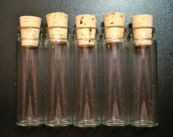 50% OFF SALE 50 XX Large Size Glass Bottle Vials with Corks. Size 2 3/4 inch tall- item 2170
