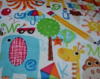 ABC Animals Bright Colors Snuggle Flannel Fabric