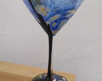 Starry Night hand-painted martini glass
