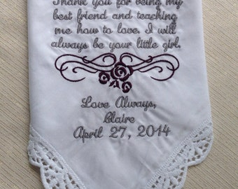 Mother of the bride personalized handkerchief gift