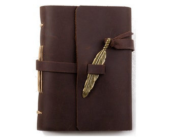 Unique Leather Journal Diary with Vintage Feather Blank Lined Craft Paper Handmade Small Brown A6 with Gift Box