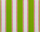"""TWO Curtain Panels, 25"""" x 96"""" - Green And White Stripe with Pink Polka Dots"""