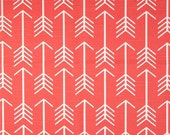 """TWO Curtain Panels, 25"""" x 84"""" - Coral and White Arrows"""