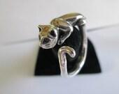 Sterling Silver CAT RING Adjustable