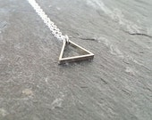 Triangle Necklace. Tiny Triangle Pendant. Geometric. Sterling Silver Necklace. Small Silver Triangle. Minimal Dainty. Layering Necklace