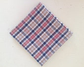 Tan and Blue Plaid Men's Handkerchief or Pocket Square