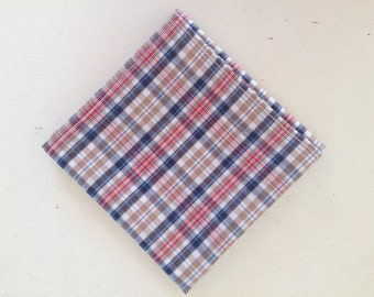 Handkerchief or Pocket Square in Blue Plaid