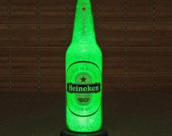 Heineken 12oz Beer Bottle Accent Lamp Night Light Bar Man Cave Sign Glow Sparkle Holland