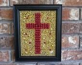 Framed Cross, Mardi Gras bead mosaic, red and gold, 8x10, Christian, home, Inspirational, Faith, Mardi Gras decor, cross art, Easter