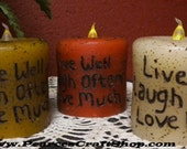 Grubby Tea Light Pillar Candle, Live Laugh Love, Primitive Lighting, Rustic Candle, Battery Operated Candles, Hand Poured Candles