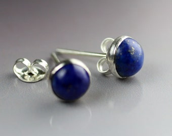 Silver Lapis Lazuli - Earring Posts with 6mm Stones