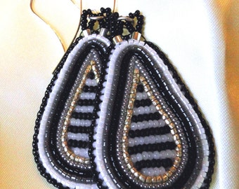 Teardrop Beaded Earrings, Concentric Loops in Silver, Black, and White