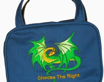 CTR Scripture Cover - Navy Blue Canvas with Flying Dragon