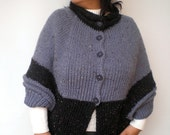 SALE Bicolor Open Poncho Hand Knit Cape Woman Cardigan Bottons mixed Wool  Poncho NEW