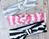 Classic Color Baby Top-Knot Headbands, Set of 3 Stripe Headbands, Baby Knotted Headband, Baby by JuteBaby
