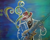 Love Notes- original painting by Parrish Monk featuring guitarist Nate White