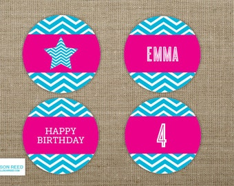 Star Birthday Cupcake Toppers -Star Printable - Girl Birthday Party - Pink birthday party - chevron party decorations - American