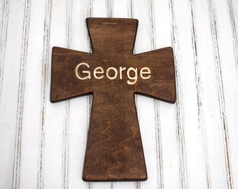 12 inch Wooden Cross - Customizable - Engraved Name