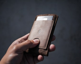 OnePlus One  Wallet Sleeve / Case - Vegetable Tanned Italian Leather and Merino Wool Felt,  Deep Caramel Brown