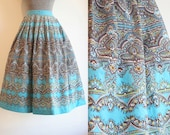 1950's Aqua Cotton Full Skirt by Graff / Size Small