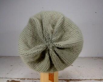 Women's 100% Peruvian Wool & Alpaca Yarn Sage Green Knit Slouchy Hat