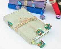 50% OFF SALE! Suede Leather Bound Journal, Light Sage Green with Twine, Klimt Inspired cane Polymer Clay