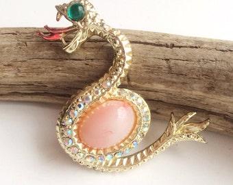 Cute Rhinestone Snake Brooch, Coral Lucite Belly Vintage Brooch, Figural Serpent