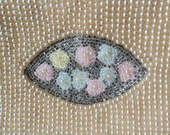 Sweet Vintage Pearl Purse, Hand Applied Steel Glass Bead Purse, Wedding Bridal Clutch, Handbag