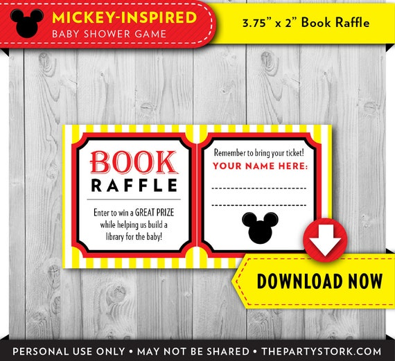 mickey mouse baby shower book raffle ticket red printable mickey
