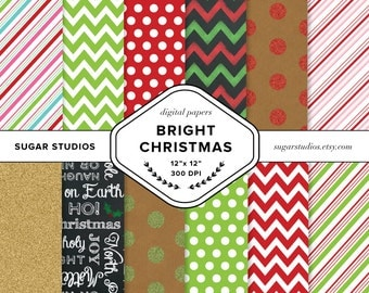 Bright Christmas 12 Piece Digital Scrapbook Paper Pack - Personal and Commercial Use