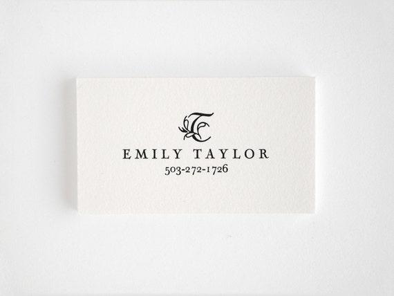 FLEUR Letterpress Calling Cards -  Personalized Business Card - Engraver