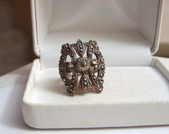 Sterling Shield Statement Ring Artisan Altered Authentic Vintage Marcasite Lind Vargas Band One Of A Kind
