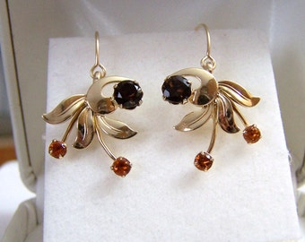 Dangle Gemstone Earrings Gold Filled Artisan Altered Van Dell Floral Spray Autumn Fall Colors Genuine Smoky Topaz & Citrine