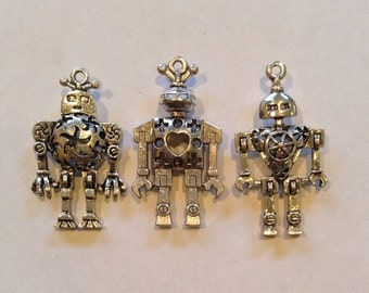 """6 Large Robot Charms Pendant Collection Antique Silver Finish Tibetan Style 1"""" x 2"""""""