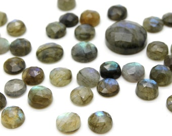 GCF-1209 - Labradorite Faceted Cabochon - 6mm Round - Gemstone Cabochon - Semi Precious Gemstone - AA Quality - Package Of 4 Pcs